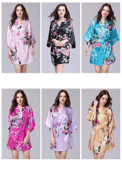 12 Farben Bademantel Schlafmantel S-XXL Sexy Frauen japanische Seide Kimono Robe Pyjamas Nachthemd Nachtwäsche Blumenunterwäsche