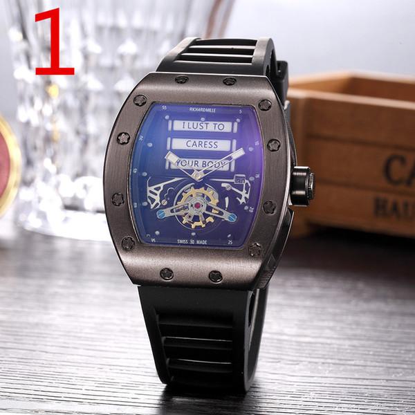 2019 Relojes de esqueleto de moda rm hombres o mujeres Cráneo reloj deportivo de cuarzo Correa de caucho día fecha reloj relógio de pulso