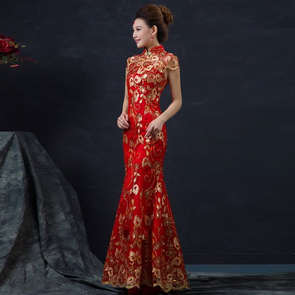 Red Female Long Short Sleeve Cheongsam Gold Slim Chinese Traditional Dress Women Qipao for Wedding Party