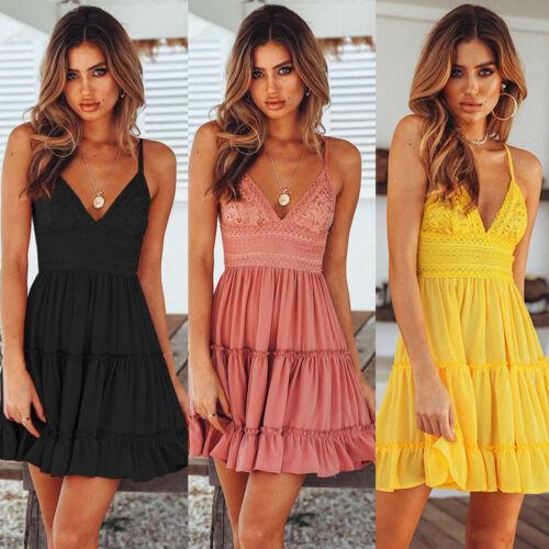 2019 новые женские летние Boho короткое мини-платье с V-образным вырезом с высокой талией вечерние платья пляжные платья сарафан Y190514