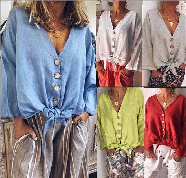 Womens Verão das mulheres Com Decote Em V Botão Camisas Casual Botão de Manga Longa senhoras Tops sólida Túnica Moda Blusa Feminina Gravata borboleta Tops Camisa Blusas