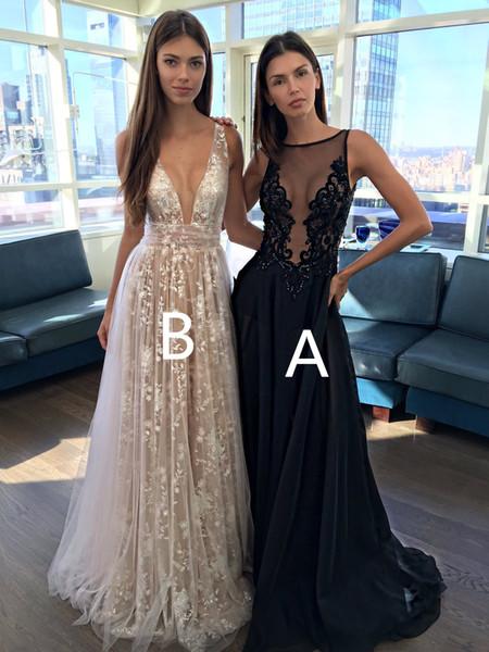 Compre Apliques 3d Con Cuentas Vestidos De Fiesta De Graduación Escote En V Profundo Encaje Volver Vestido Formal Vestidos De Noche Vestido De