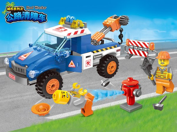 City Series Road Wrecker car Compatible Enlighten Building Blocks children Educational Bricks minis Toys 1109
