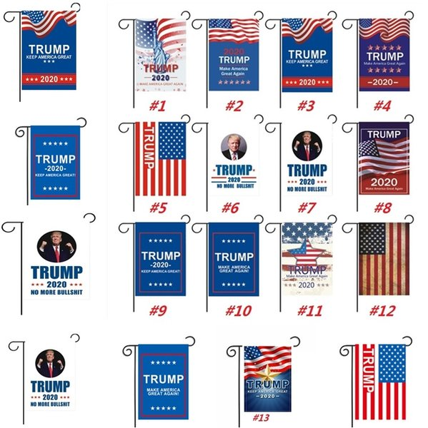 best selling New Trump Garden Flags President General Election Banner 2020 Trump Flag Polyester Cloth Plastic Flagpole Pennant Banner Flags 30* 45cm 4716