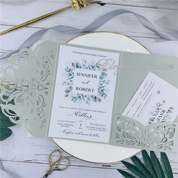 Gray Legant Laser Cut Ser Cut Wedding Invitation Cards Greeting Card Customize Business With Rsvp Cards Decor Party Supplies Free Shippng Template For
