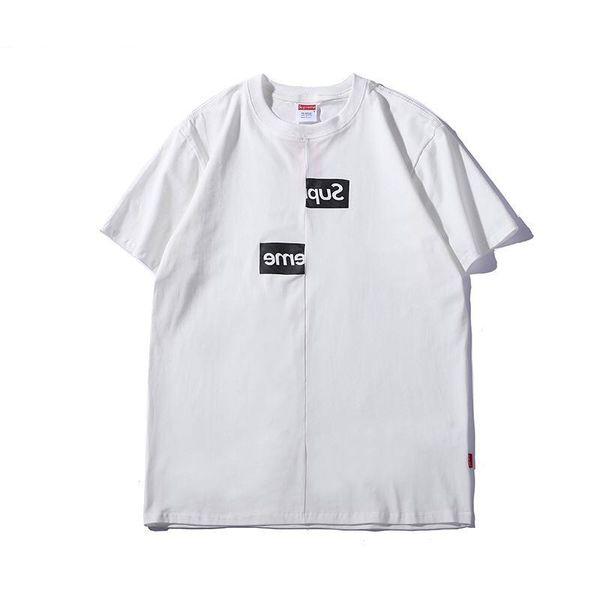 Damen Kurzarm T-Shirt Mode Europa und die Vereinigten Staaten Trend Markendesign asymmetrischen Buchstaben Druck Frauen Casual T-Shirt