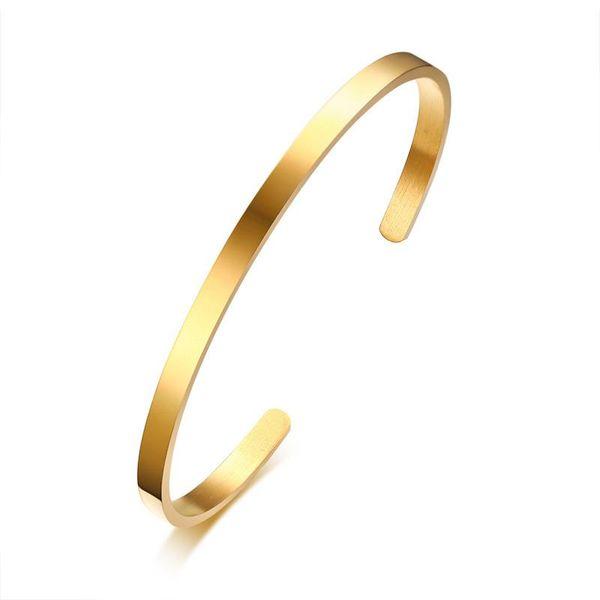 comprare popolare 03f83 5e7cf 2019 4mm Thin Charm Cuff Bangles Stainless Steel Bracciali Elegant Gold  Black Silver Rose Gold Women Bracelets Pulseira Feminina From Duodeis,  $31.67 ...