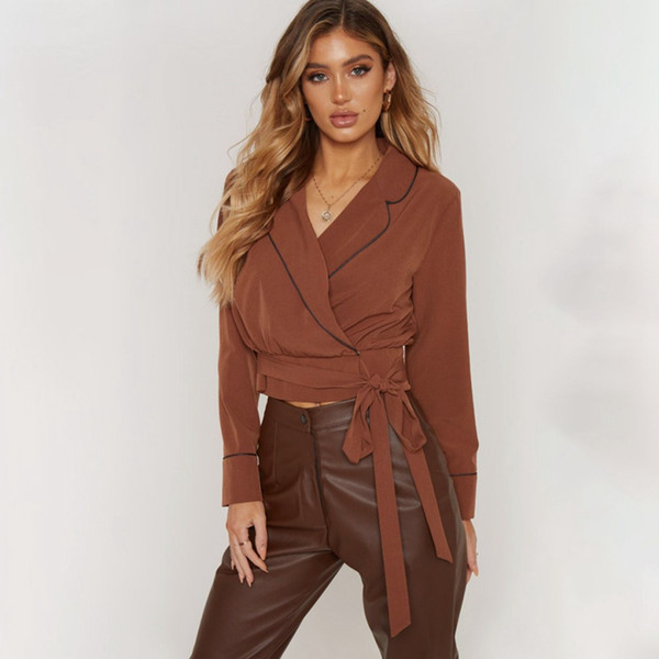 Turn-down Collar Exposed Navel Short Belt Lace-Up Top Sexy Long-Sleeved Statement Shirt Womens Tops And Blouses Fashion