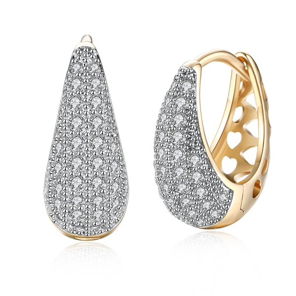 Exquisite Earrings Drop-shaped Zircon-studded Romantic Ear Clips Women's Champagne Gold Earrings Cuff Atmosphere Jewelry Gifts POTALA140-E
