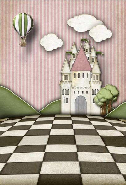 5x7ft Hot Air Balloons Castle Checkers Entrance Washable No Wrinkle Banner Photo Studio Background Backdrop Polyester Fabric