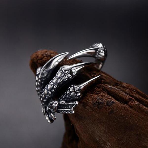 best selling Unisex Women Men Dragon Paws Rings Adjustable Punk Rock Thai Silver Vintage Jewelry Male Ring Biker Band Goth Viking