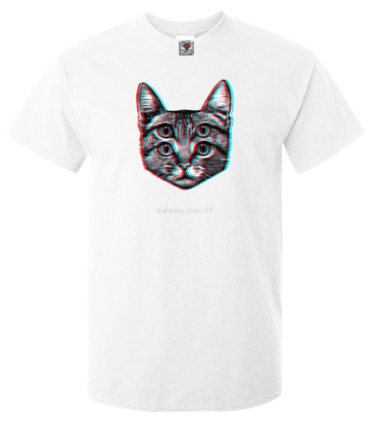 3D Kitten T-Shirt - Camiseta divertida Retro Fashion Weird Trippy Cute Animal Joke Trend Hip Hop Clothing Cotton Sleeve Tshirt
