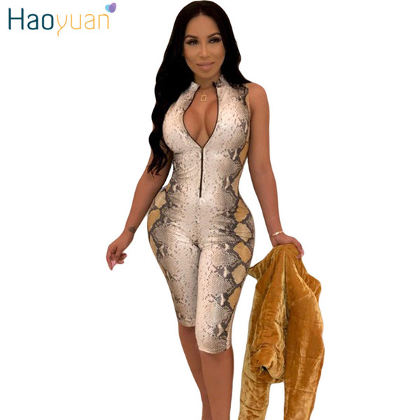 ec30352959b 2019 HAOYUAN Snake Skin Sexy Playsuit Casual One Piece Bodycon Shorts  Rompers Womens Jumpsuit Streetwear Snakeskin Party Bodysuit From Kennethy
