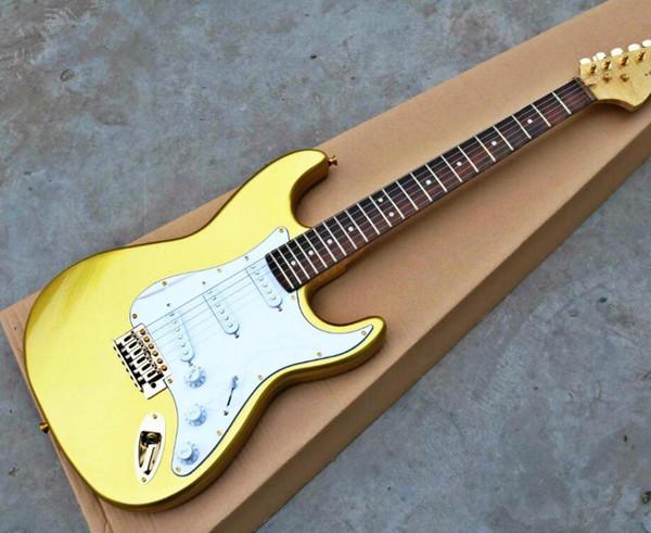 2019 Высокое качество cheape FDST-1015 золотой цвет твердого тела белая пластина золотое оборудование Stratocaster электрогитара, бесплатная доставка