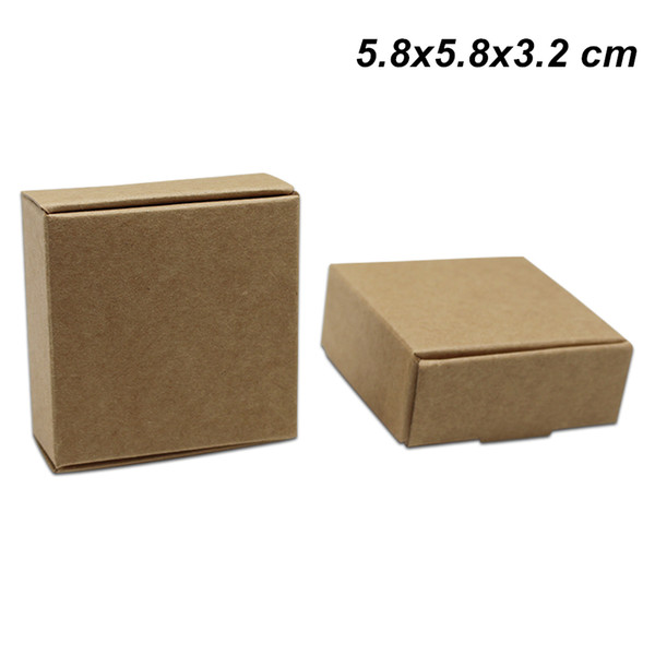5.8x5.8x3.2 cm Brown Kraft Paper Handmade Soap Gifts Crafts Storage Boxes for Wedding Birthday Paper Board Storage Box for Candy Bakery Cake