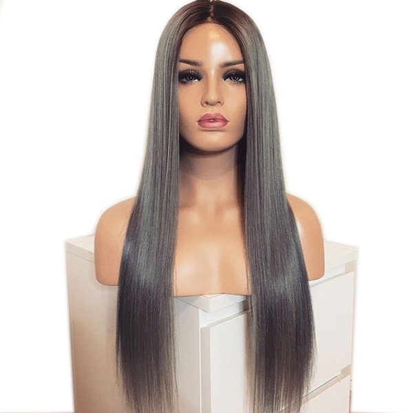 2 Tones Dark Roots Long Silky Straight Wigs Ombre Grey Hair Heat Resistant Glueless Synthetic Lace Front Wigs For Black Women Dreadlock Wigs Malaysian
