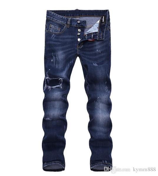 Les jeans européens hommes debout, jeans hommes, une paire de jeans skinny et crânes noirs brodés # 079