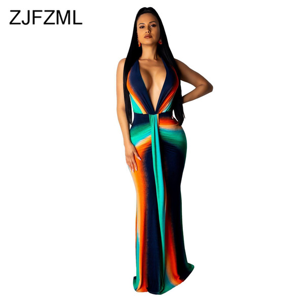 Coloré Tie Dye Imprimer Sexy Plus Size Dress Femmes Deep Deep Neck taille haute sirène Dress Élégant sans manches Maxi Club Party Dress