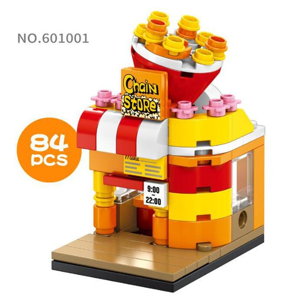 Mini World Little Shop Series City Building Assembled Mini blocks Puzzle Toys Popcorn Shop for Over 6 Years Old