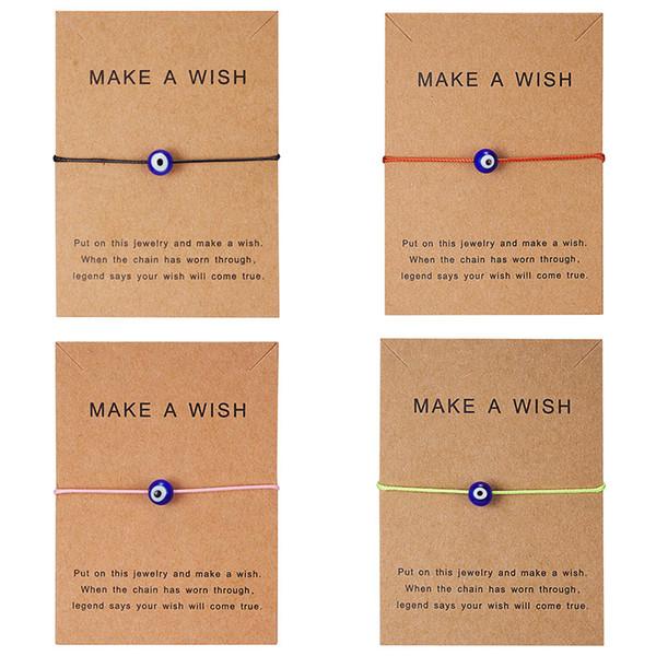 소원 카드 5 색 터키어 럭키 블루 이블 눈 팔찌 여성을위한 손으로 꼰 밧줄 팔찌 팔찌 여성 남성 쥬얼리