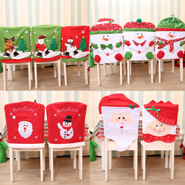 Santa Claus Elk Snowman Cap Chair Cover Christmas Dinner Table Party Red Hat Chair Back Covers Xmas Decoration