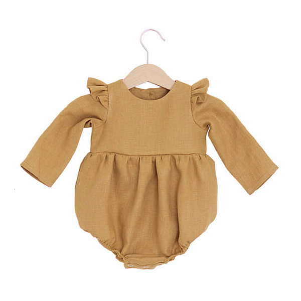 Baby Girls Clothes Newborn Baby Linen Cotton Jumpsuit Long Sleeve Kids Girls Ruffle Rompers Baby Body Suits D1288MX190912