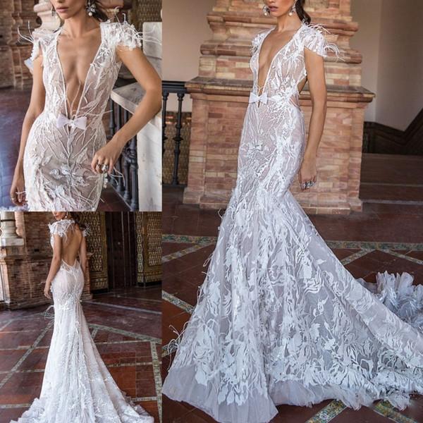 Berta 2019 Feather Mermaid Wedding Dresses Cap Sleeve Lace Appliqued Sheer V Neck Bridal Gowns Vestido De Novia Open Backless Wedding Dress