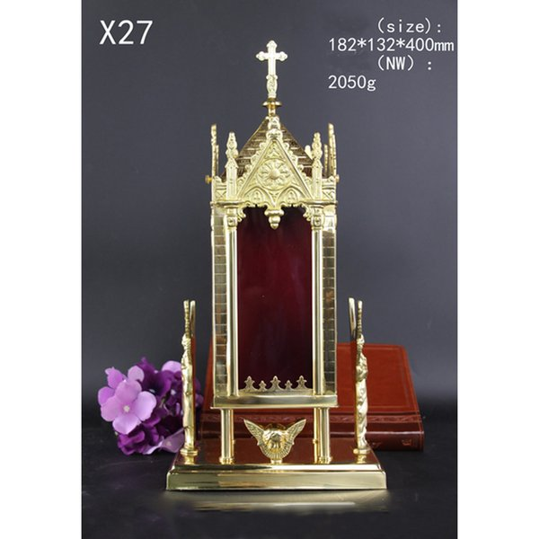 Custom X27 Brass Angel monstrance Reliquary church Arts and Crafts for relic Ornate Religion Article L182mm*W132mm*H400mm