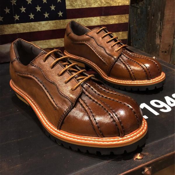 Lyeejion Мужская обувь из натуральной кожи Повседневная обувь новая мода для мужчин Горячие Продаем Оксфорд Lace-Up Brown бизнеса
