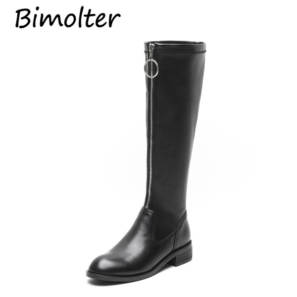 Bimolter Newest Fashion Knee High Boots Woman Round Toe Brief Styles Leather Long Boots Women Fashion High Quality NC016