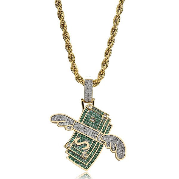 New Iced Out Flying Cash Solid Pendant Necklace Mens Personalized Hip Hop Gold Silver Color Charm Chains Jewelry