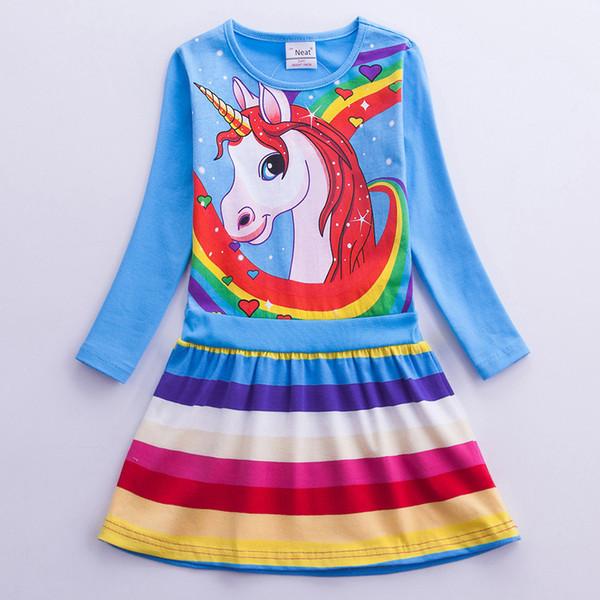 Mädchen Einhorn Kleid Kostüm 2019 Langarm Kinder Baumwolle Cartoon Regenbogen Einhorn Kleid Baby Mädchen Casual Kleider für Kinder Kleidung