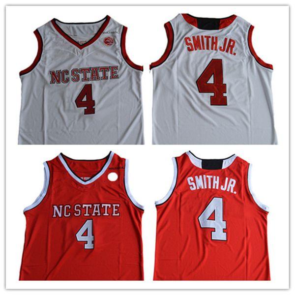 2019 NCAA Koleji Wolfpack 4 # Dennis Smith Jr. Üniversite Basketbol Forması Kırmızı Beyaz # 4 Dennis Smith Jr. Üniversite Dikişli Formalar Ucuz