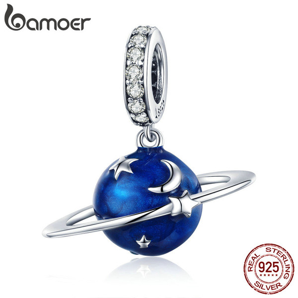 925 Sterling Silver Secret Planet Moon Star Pendant Blue Enamel Charms Fit Charm Bracelets Necklace DIY Jewelry Birthday Gift