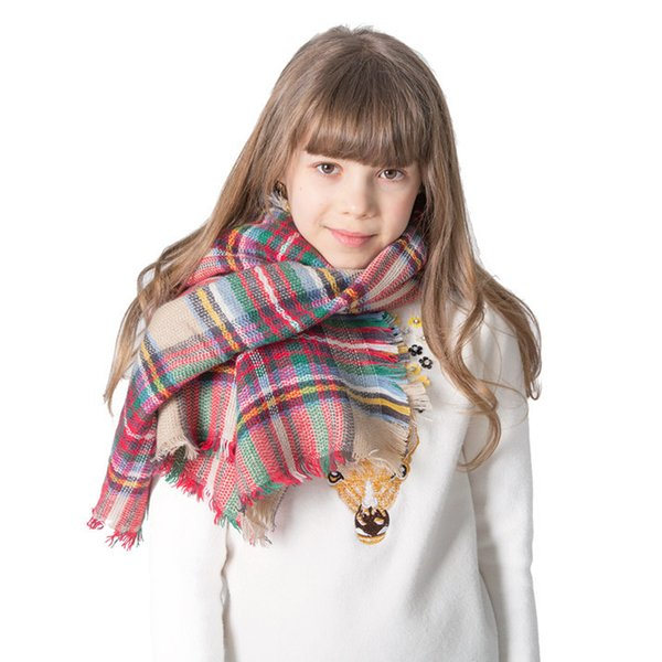 Gilrs Designer Scarf Colorful Plaid Oversize Scarves For Children Pashmina Shawl Wraps Ring Scarf Blanket 16 Colors