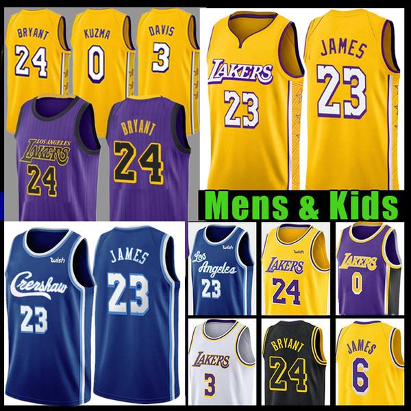 LeBron James 23 6 Basketball Jersey 8 24 Anthony Davis 3 Kyle 0 Kuzma NCAA College Crenshaw uomo gioventù scherza il Los AngelesLakers
