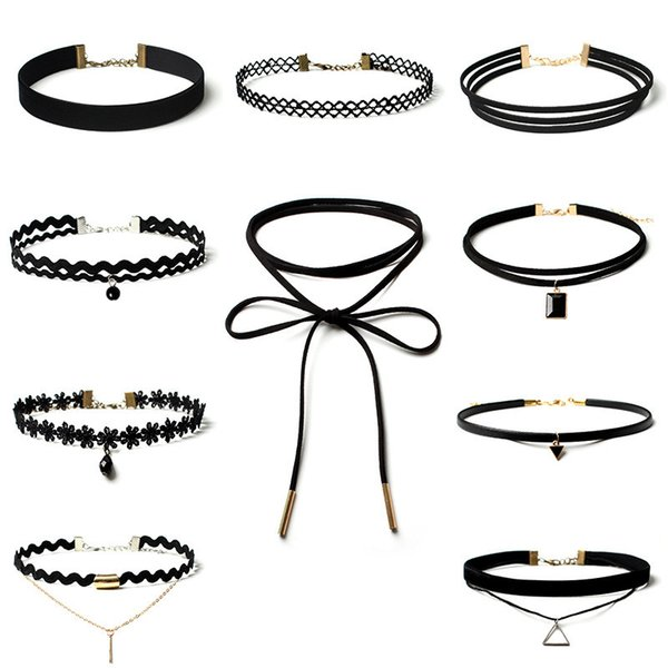 10Pcs Set Gothic Choker Collar Necklace Poirot Black Widow Swan Set Western Style For Women Lace Neck Simple Fashion Jewelry 2019New