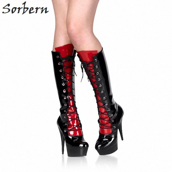 Black Shiny Knee High Boots For Women Spike High Heel 15Cm Platform Shoes Punk Boots Women Booties Womens Shoes