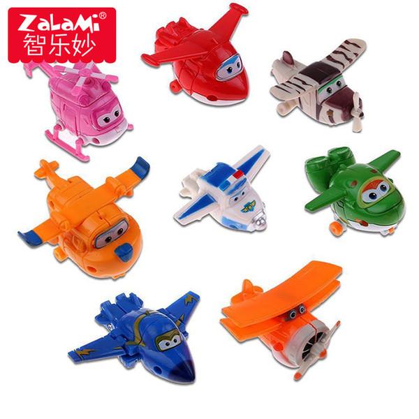 8 pçs / set Mini Avião Anime Super Asas Modelo Toy Transformação Figuras de Ação Robô Superwings Brinquedos Para Crianças Dos Miúdos