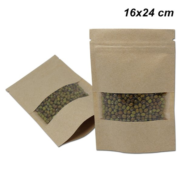 50 PCS Brown 16x24cm Kraft Paper Doypack Clear Window Resealable Pouch for Snack Nut Craft Paper Zip Lock Reusable Food Storage Packing Bags
