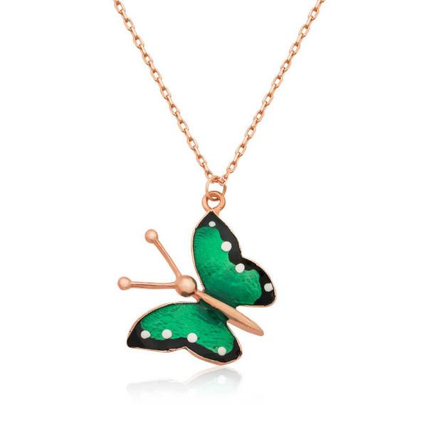 Argent 925 papillon vert Collier Lady