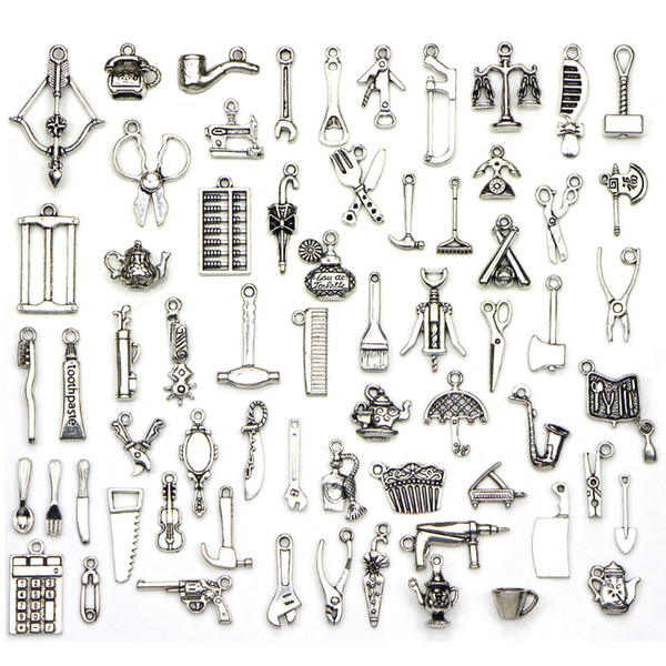 Hardware Tool Kit 65pcs/set DIY Tibetan Silver Pendant Jewelry Accessories Charms for Chain Necklace Ankle Bracelet Wristband Decoration