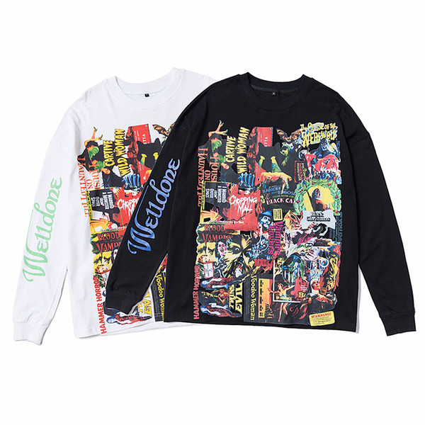 Hommes Noir Blanc en vrac T-shirts de mode High Street à manches longues pour hommes 2019 été Hip Hop WELLDONE Tops Imprimer