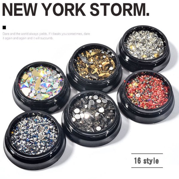 top popular Ins style 16 colors nail jewelry mixed square drill flat bottom diamond phototherapy A New York storm 3set 2021