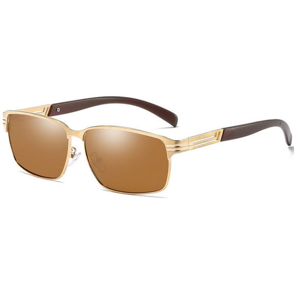 Brand men's polarized sunglasses aluminum-magnesium alloy frame HD driving outdoor riding UV protection HD sunglasses gift box
