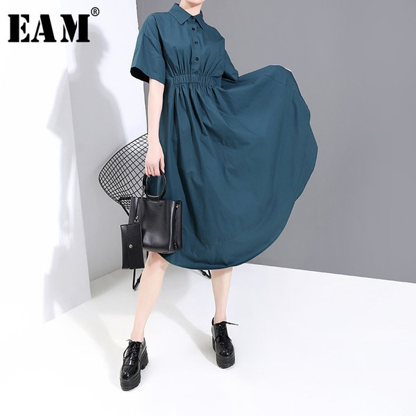 eam] women blue pleated sttich irregular shirt dress new lapel short sleeve loose fit fashion tide spring summer 2020 1w340, Black;gray