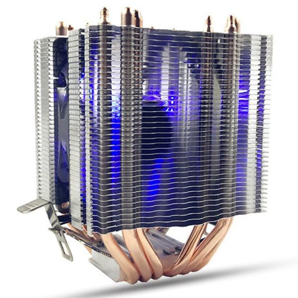6X Pipe 4 Wire Single Fan With Blue Light Cpu Fan Cpu Heatsink For Intel 775/1150/1155/1156/1366 Amd Universal