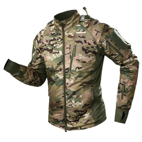 2019 New Outdoor Tactical Waterproof Plus Velvet Jacket Ultra Light Warm Jacket Hiking Riding Camouflage