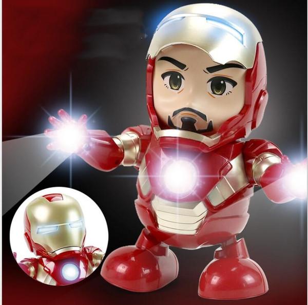 Meninas Meninos Figura Toy LED Dança Homem De Ferro Robô De Ação Lanterna com Som 19 * 12.5 cm Homem De Ferro Herói Eletrônico Novidade das Crianças Presentes do Dia