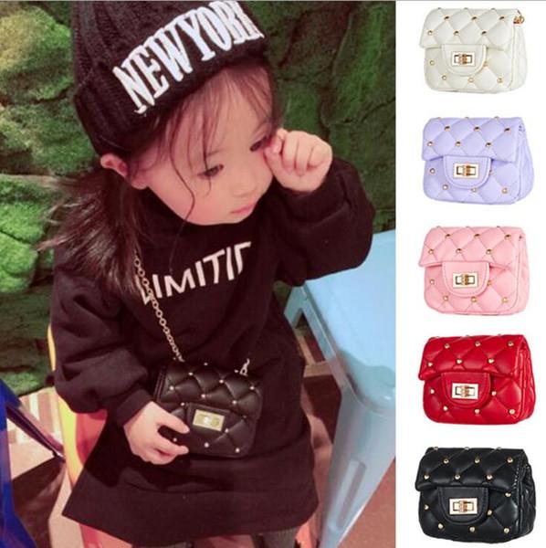 Baby Rivet Bags Solid Color Kids Princess Purses PU Shoulder Bags Girls All-match Cross-body Bags Children Designer Handbags YSY295